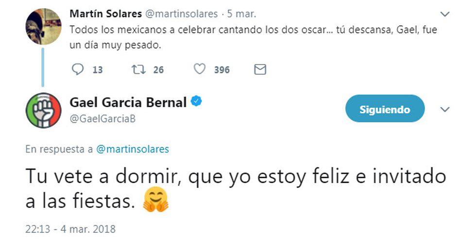 Respuesta de Gael García Bernal en Twitter. (Foto: Captura de pantalla)