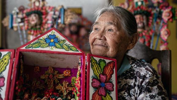 Los trabajos de Genoveva Núñez recrean experiencias de su infancia, así como relatos del imaginario cusqueño. Su historia es un ejemplo de vida. (FOTO: Anthony Ramírez Niño de Guzmán)