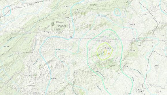 Un sismo de magnitud 5,1 y de poca profundidad sacudió el domingo Carolina del Norte, provocando movimiento de edificios en el mayor temblor registrado en esa área en más de 100 años. (USGS).