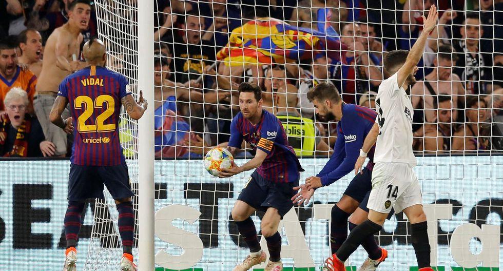 Barcelona vs. Valencia: Lionel Messi descontó 2-1 tras atajadón de Doménech por Copa del Rey | VIDEO. (Foto: AFP)