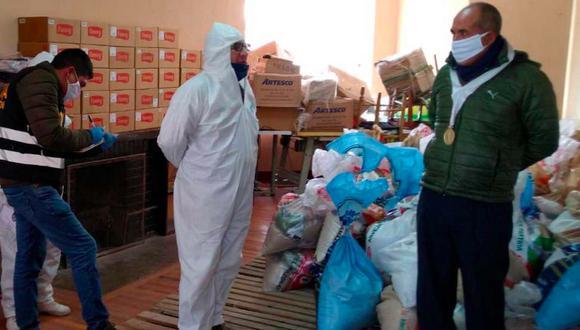 Fiscalía interviene almacén de la municipalidad de Pasco ante denuncias de una mala distribución de las canastas de víveres. (Foto: Difusión)