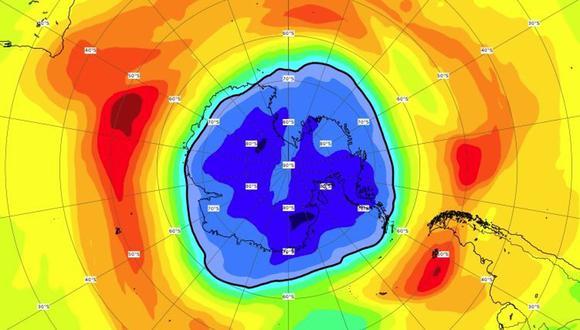 Situación del agujero de ozono en torno al Polo Sur en setiembre de 2021. (CAMS)
