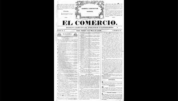 Así ocurrió: En 1839 El Comercio publica su primera edición