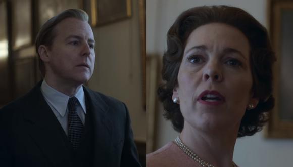 """De izquierda a derecha Anthony Blunt (Samuel West), el espía de la KGB que se infiltró en el Palacio de Buckingham y que fue encubierto por la reina Isabel II (Olivia Colman). La historia se incluyó en """"The Crown"""" temporada 3. Foto: Netflix."""