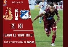 Deportes Tolima venció 2-0 a Millonarios por el Torneo Finalización 2019 de la Liga Águila