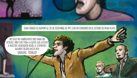 """Cómic   """"Gustavo Cerati, un sueño consagrado en stereo"""". Guion: Aarón Ormeño Hurtado/ Dibujos: Víctor Aguilar Rúa"""