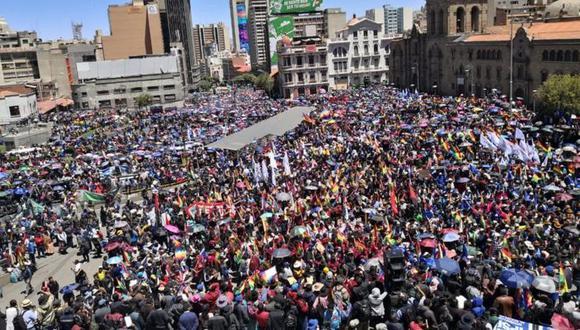 Los seguidores de Morales realizaron una concentración multitudinaria. (ABI vía BBC)