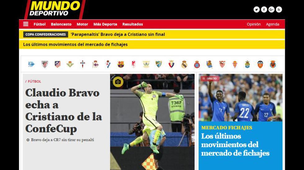 La web Mundo Deportivo también alabó la actuación del portero Claudio Bravo. (Foto: Captura)