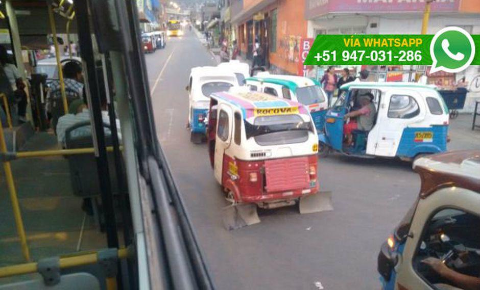Metropolitano: mototaxis colocan paradero en vía de alimentador