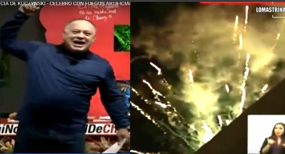 YouTube: Diosdado Cabello celebra la caída de Pedro Pablo Kuczynski con fuegos artificiales