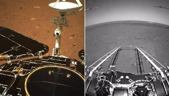 Primeras imágenes de Zhurong desde Marte. (CNSA)