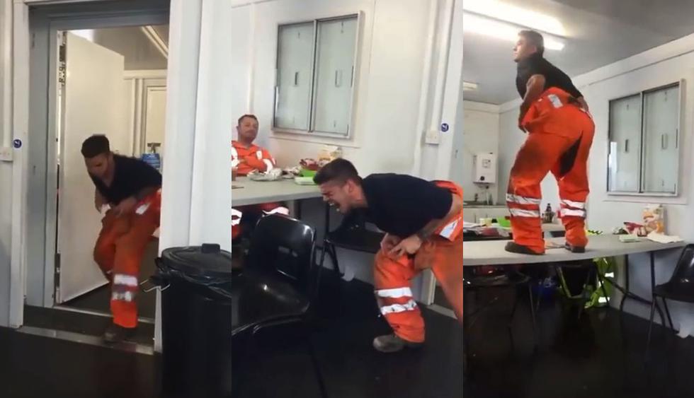 A la hora del almuerzo de una empresa en México, un joven actuó como un Tiranosaurio rex, el video fue subido a Facebook y no tardó en volverse viral. (Foto: Captura)