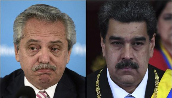 El presidente de Venezuela, Alberto Fernández, y su homólogo de Venezuela Nicolás Maduro. (AFP).