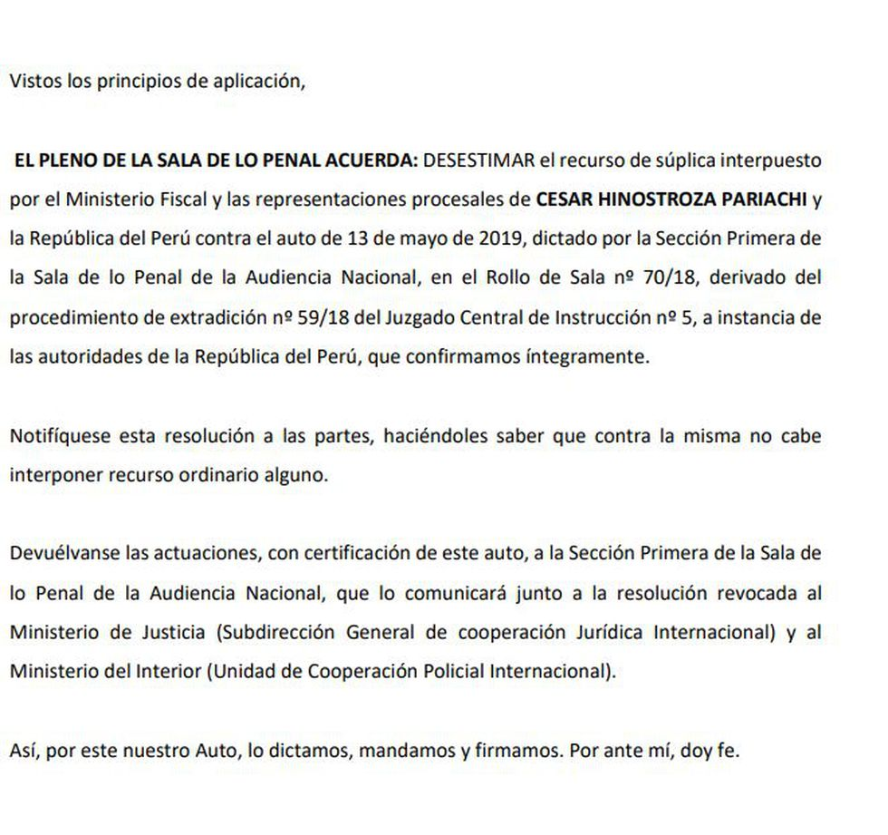 Decisión de la Audiencia Nacional de Madrid