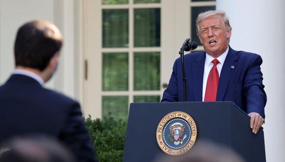 El presidente de los Estados Unidos, Donald Trump, asiste a una conferencia de prensa en el Rose Garden en la Casa Blanca en Washington. (REUTERS/Jonathan Ernst).