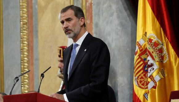 El Rey Felipe VI durante su discurso en el hemiciclo del Congreso de los Diputados, en el que se celebra la conmemoración del 40 aniversario de la Constitución. (Foto: EFE)