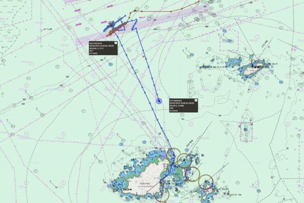 El lugar donde fueron encontrados los restos de Emiliano Sala. (Marine Traffic vía La Nación de Argentina)