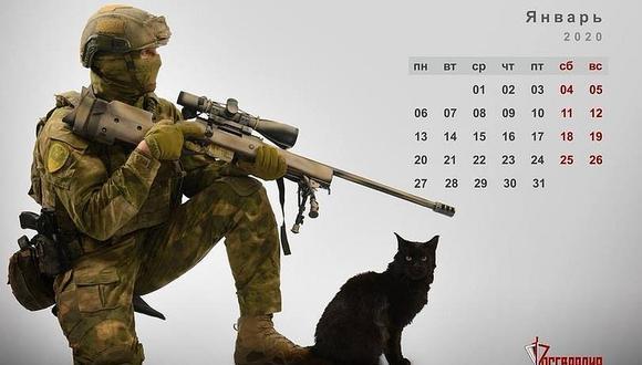 Calendario felino-militar. (Foto: Guardia Nacional de Rusia)