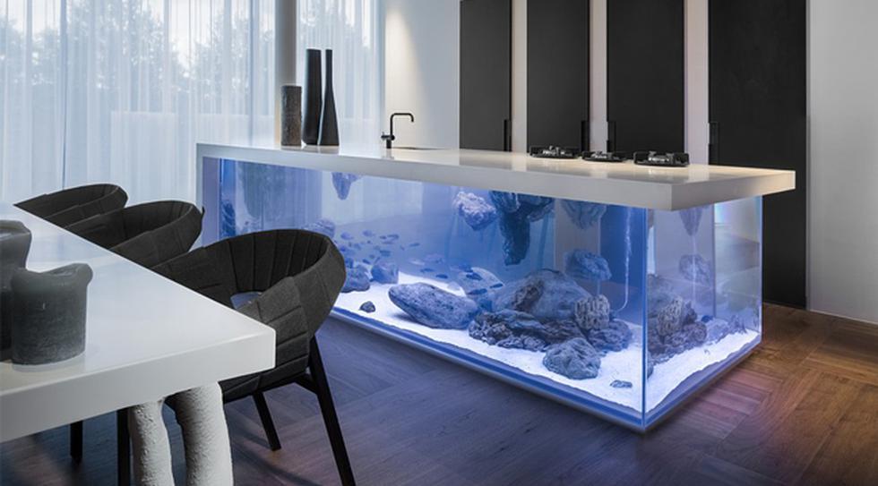 Diseño y naturaleza se unen en esta creativa cocina con acuario - 1