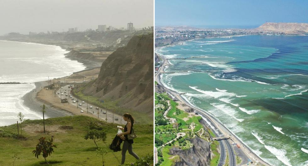 Las dos caras de la Costa Verde. La primera es una foto tomada en mayo del 2018 y la segunda fue captada en abril del 2020, en pleno confinamiento por el coronavirus en Perú (Fotos: David Vexelman / Twitter)