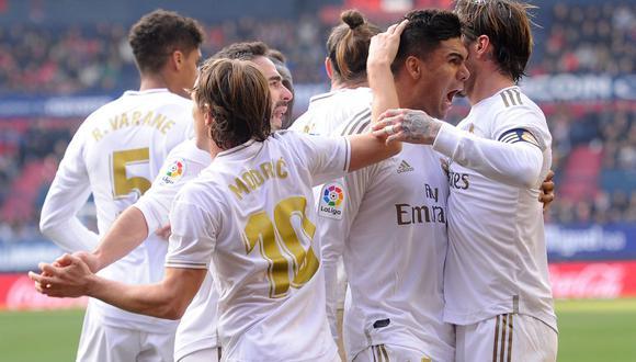 Real Madrid venció a Osasuna en el estadio El Sadar de Pamplona por la jornada 23 de LaLiga Santander. | Foto:  ANDER GILLENEA/AFP