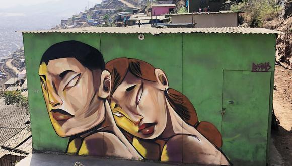 Pésimo es conocido, además, por intervenir espacios urbanos con su arte. Aquí una muestra en Miraflores.