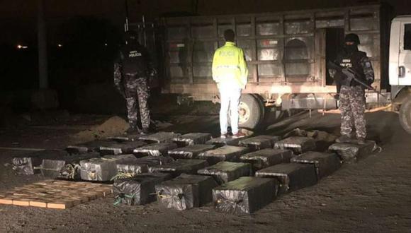 Ecuador: Policía halla una tonelada de droga en base militar de Manta. (Foto: Policía de Ecuador).