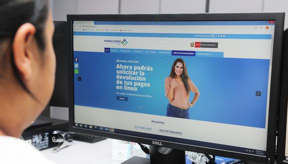 Para acceder a este servicio, los ciudadanos nacionales y extranjeros deberán ingresar a www.migraciones.gob.pe, a la opción Sistema de Devoluciones de Pagos en Línea. (Foto: Migraciones)