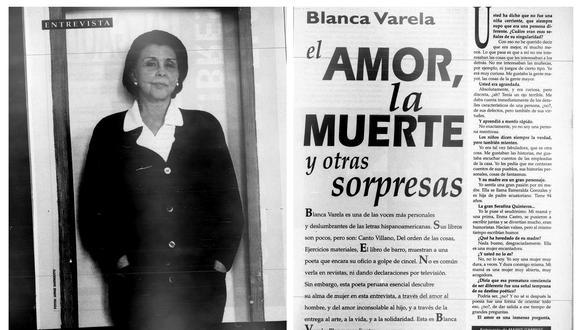 Mario Campos entrevistó a Blanca Varela en la edición de Somos del 21 de setiembre de 1996. La entrevista completa puede leerse en el libro 'Entrevistas a Blanca Varela'.
