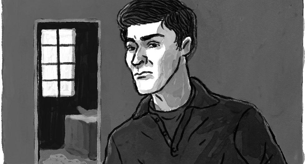 Ilustración de Jorge Manrique, asesino confeso de Luis Schambaher. (Crédito: Víctor Aguilar Rúa)