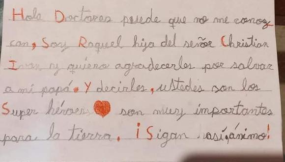 Esta es la conmovedora carta  que escribió la menor y que el hospital difundió en sus redes sociales.  (Foto: Hospital Nuestra Señora de las Mercedes)