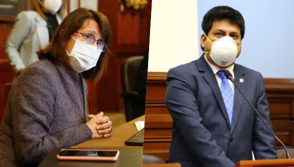 Mazzetti (izquierda) afirmó ante la comisión que lidera Leonardo Onga (derecha) que en la última versión del contrato enviado por Pfizer al Estado peruano se establecen una serie de cláusulas que deben ser revisadas. Foto: Andina