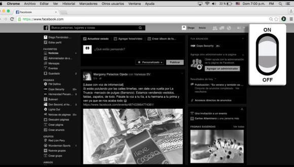 El complemento utiliza el color negro en el navegador para disminuir el consumo de energía. (Foto: Captura de pantalla)