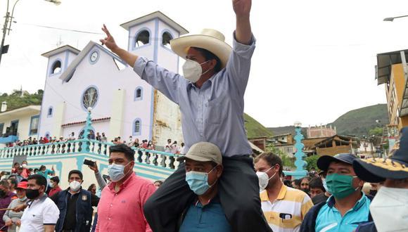 El candidato de Perú libre, Pedro Castillo, ya es ganador en al menos 15 regiones del Perú. (Foto: EFE/Francisco Vigo)