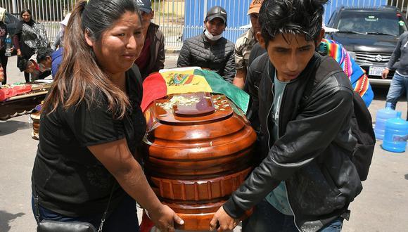 Un grupo de personas carga el féretro de uno de los nueve fallecidos el viernes a manos de las fuerzas de seguridad en Sacaba, Cochabamba. (EFE/ Jorge Ábrego).