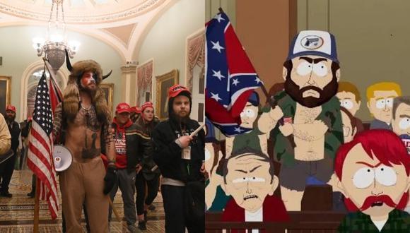 Los internautas no dudaron en comparar los lamentables hechos ocurridos en la sede del legislativo estadounidense con la trama de un episodio de South Park. | Crédito: AFP / Comedy Central.