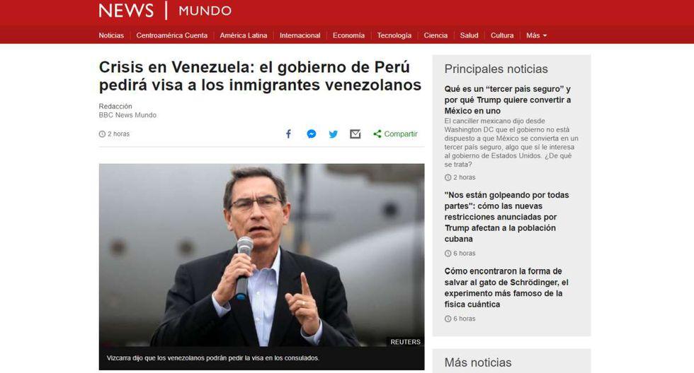 """La BBC de Londres informa: """"Crisis en Venezuela: el gobierno de Perú pedirá visa a los inmigrantes venezolanos""""."""