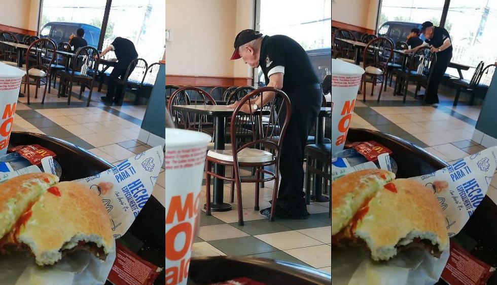 En Facebook fue publicado el video de un anciano de Chile que limpia las mesas de un restaurante a pesar de su avanzada edad. Los usuarios volvieron viral el clip con cientos de comentarios. (Foto: captura de Facebook)