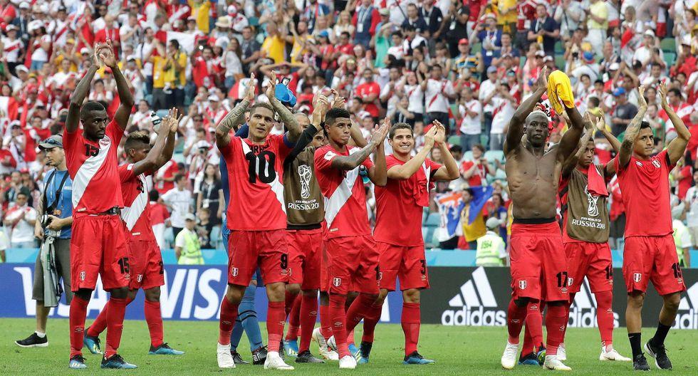 Perú tras vencer a Australia durante el Mundial Rusia 2018. (Foto: AFP)