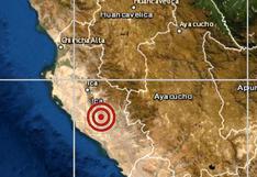 Sismo de magnitud 4 ocurrió esta madrugada en Ica