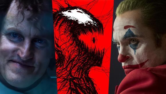 """A la izquierda, Woody Harrelson como Cletus Kasady; villano de """"Venom 2"""". A la derecha, Joaquin Phoenix como el Joker, personaje que inspiró a Carnage (centro) al momento de su creación, un villano díscolo e inmoral. Fotos: Sony Pictures/ Marvel Comics/ Warner Bros."""