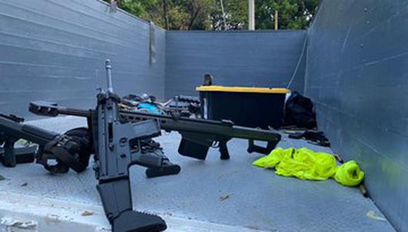 Las armas de guerra que incautó la policía de México en el lugar del atentado contra Omar García Harfuch.