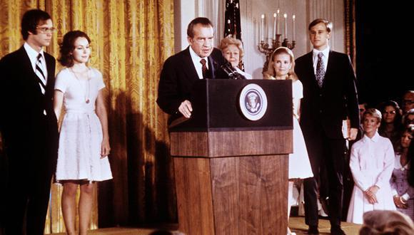 El presidente de Estados Unidos, Richard Nixon, después de anunciar su renuncia en la Casa Blanca, el 08 de agosto de 1974. (Foto: Agencia)