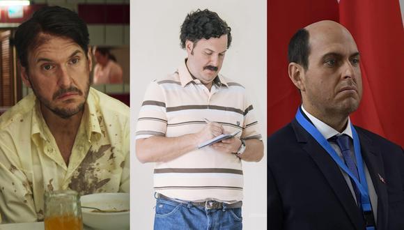 """Andrés Parra. De izquierda a derecha, en """"El robo del siglo"""", """"Escobr: el patrón del mal"""" y """"El presidente"""". Fotos: Netflix/ Caracol/ Prime Video."""