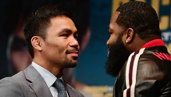 Manny Pacquiao y Arien Broner se vieron cara a cara en la conferencia de prensa que se realizó en Gotham Hall. (Foto: AFP)