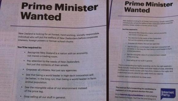 Partido busca premier a través de un aviso en el diario