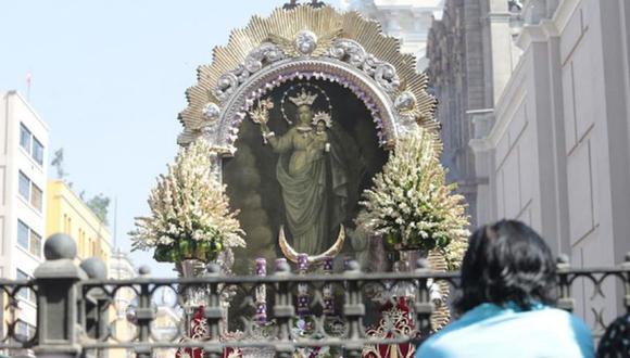 La imagen de la Virgen de la Nube acompaña el lienzo del Señor de los Milagros desde octubre de 1747   Foto: GEC