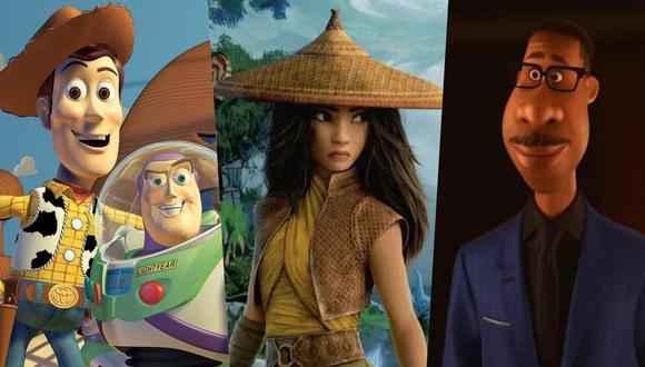 """A la izquierda, """"Toy Story"""" (1995), el debut de Pixar que marcó un hito en taquilla, crítica y avances tecnológicos. Al centro, """"Raya and the Last Dragon"""" (2021), cinta de Disney Animation hecha en 3D. A la derecha, """"Soul"""" (2020); lanzada en Disney+ por la pandemia del Covid-19. Fotos: Pixar/ Disney."""