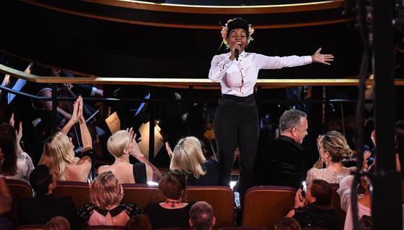 La cantautora afroamericana Janelle Monáe hizo cantar hasta a Leonardo Di Caprio y Kathy Bates. (Foto: AFP)