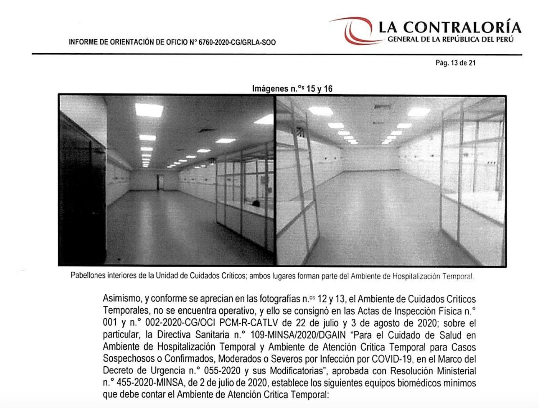 Informe publicado por la Contraloría sobre las deficiencias en el centro de atención temporal Carlos Augusto Salaverry. (Imagen: Contraloría)